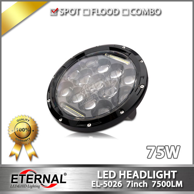 offroad accessories 4x4 Round 7inch LED Headlight H4 Hi low beam Headlight Headlamp Led DRL Light for offroad wrangler TJ 09-16 free shipping 7inch round headlight 75w h4 motorcycle round led headlamp daymaker hi low beam head light bulb drl for offroad
