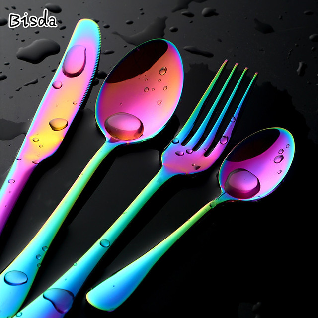 Unique Rainbow Knife Fork Spoon Dinnerware Set Stainless Steel Mirror Polished Flatware utlery Set Service for 6
