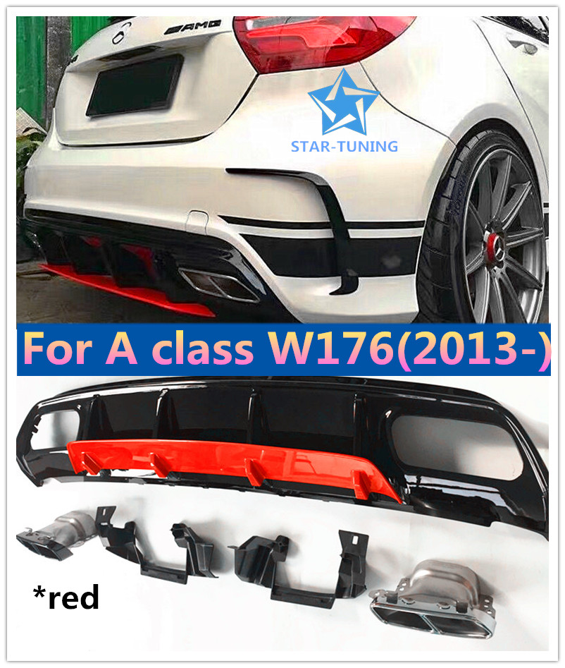 Abs A45 Amg Diffuser 304 Stainless Steel 4 Outlet Exhaust Tip Fits Mercedes W176 2013 In Sport Edition A Class A180 A200in Body Kits From Automobiles: A45 Amg Exhaust At Woreks.co