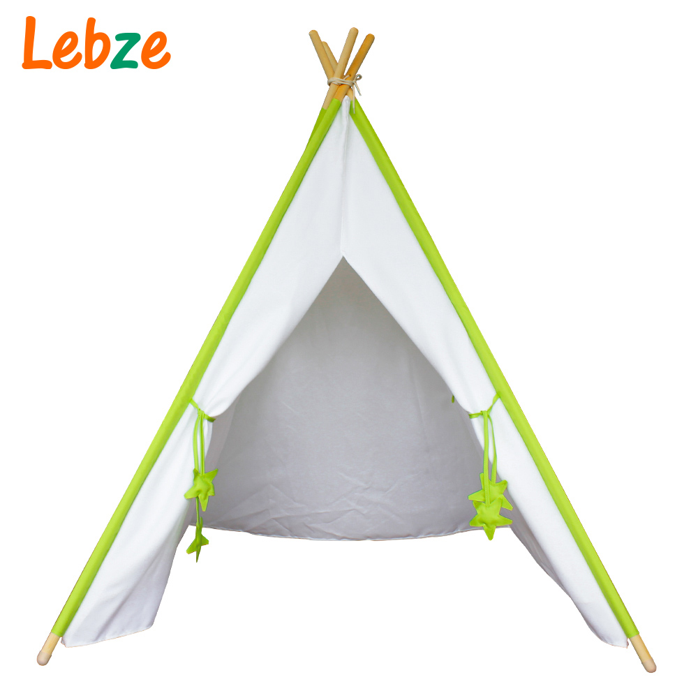 ФОТО Four Poles Kids Play Tent Solid Color Children Teepee Oxford Cloth Tipi for Baby Room
