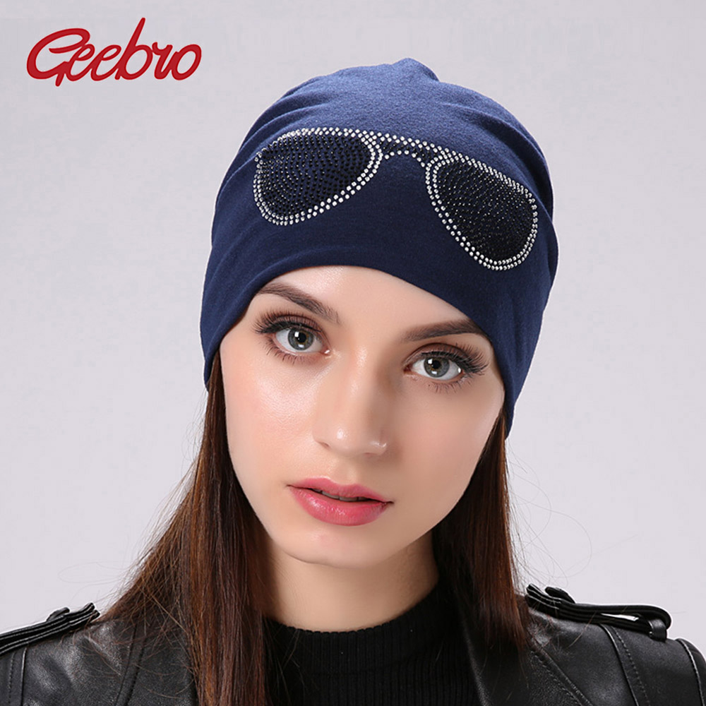 Geebro Women's Sunglasses Style Beanies Hat Spring Casual Polyester Rhinestones Slouchy Beanie For Women Balaclava Skullies Caps(China)