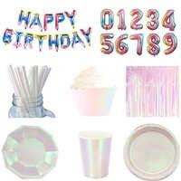 Fournitures de fête irisées assiettes à Dessert métalliques gobelets en papier emballage de Cupcake rideaux glands pour fête d'anniversaire sirène/licorne