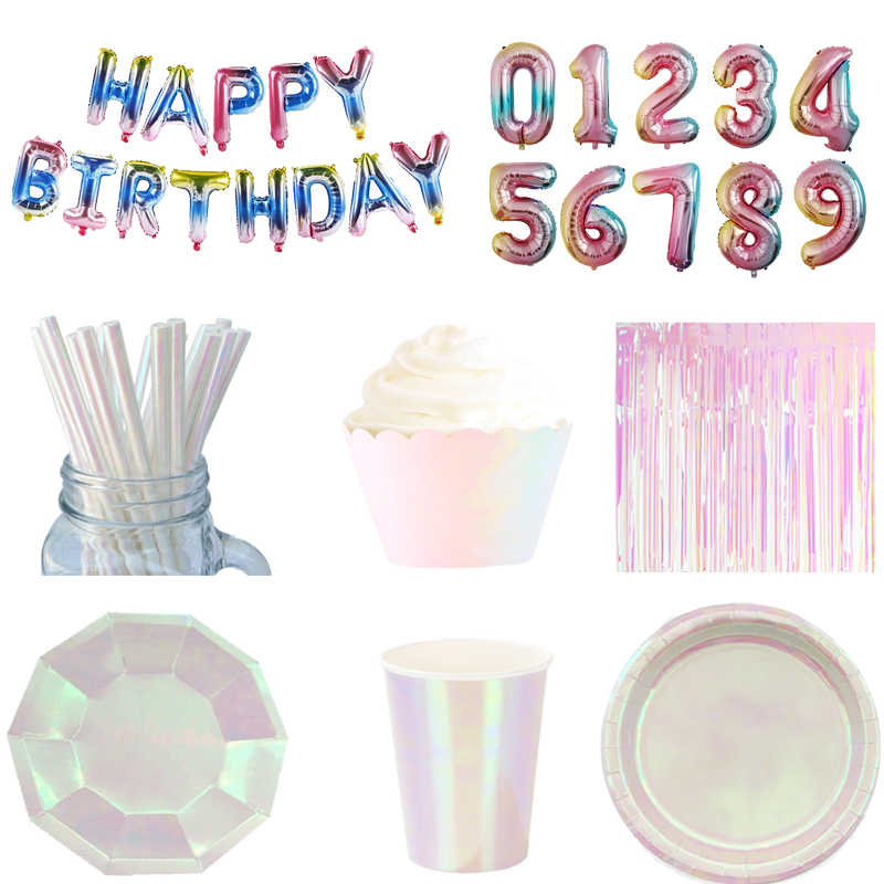 Iridescent Party Supplies Metallic Dessert Plates Paper Cups Cupcake Wrapper Curtains Tassels for Mermaid/Unicorn Birthday Party
