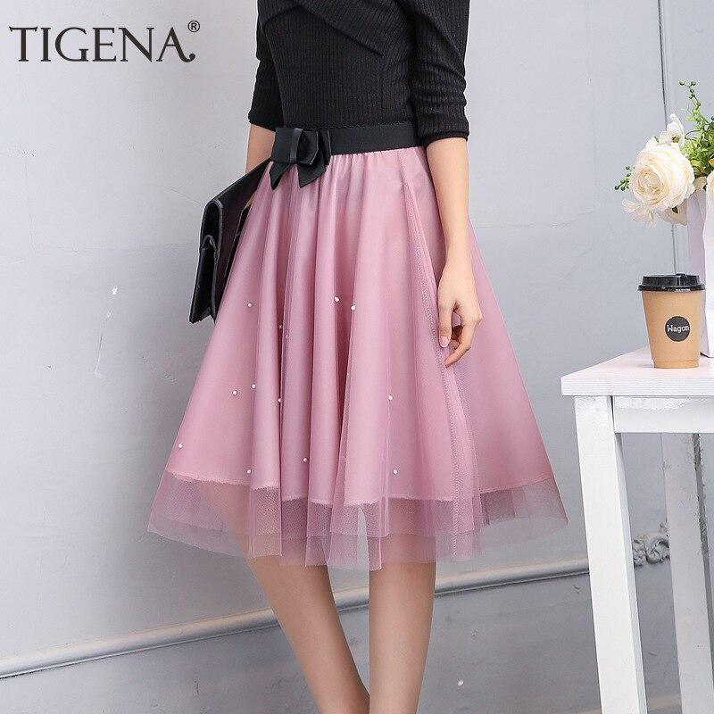 TIGENA Women Skirts 2019 Summer High Waist Tulle Skirts Female A-line Pleated Tutu Midi Skirts Knee Length Pink Skirts Sun a-line