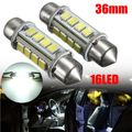 2Pcs Festoon Dome Door Reading Lights 2835 12/16/24SMD C5W LED License Plate Light Bulb 31/36/39/44mm 360 Degree White