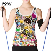 FORUDESIGNS Cute Emoji Smiley Tank Top For Women Summer Women Tank Top Sleeveless Vest Tops Slim