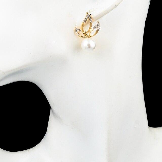 chicvie золотые двухсторонние серьги гвоздики с имитацией жемчуга фотография