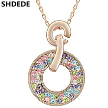 SHDEDE Women Necklace Fashion Jewelry Crystal from Swarovski Round Pendant Rhinestone Colourful Accessories Classic Gift -2 fashion women necklace snowflake shiny rhinestone with swarovski element pendant chain necklace party jewelry christmas gift
