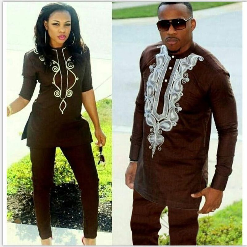 H&D 2019 african couple dress african suits for women and men riche embroidery design Dashiki shirt pant set outfit suit clothes Платье