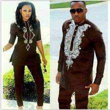 H&D 2019 african couple dress african suits for women and men riche embroidery design Dashiki shirt pant set outfit suit clothes(China)