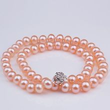 noble women gift Jewelry Silver Clasp 17-17.5inch  Natural AAA+ 9-9.5mm Pink Akoya Sea South Pearl Necklace