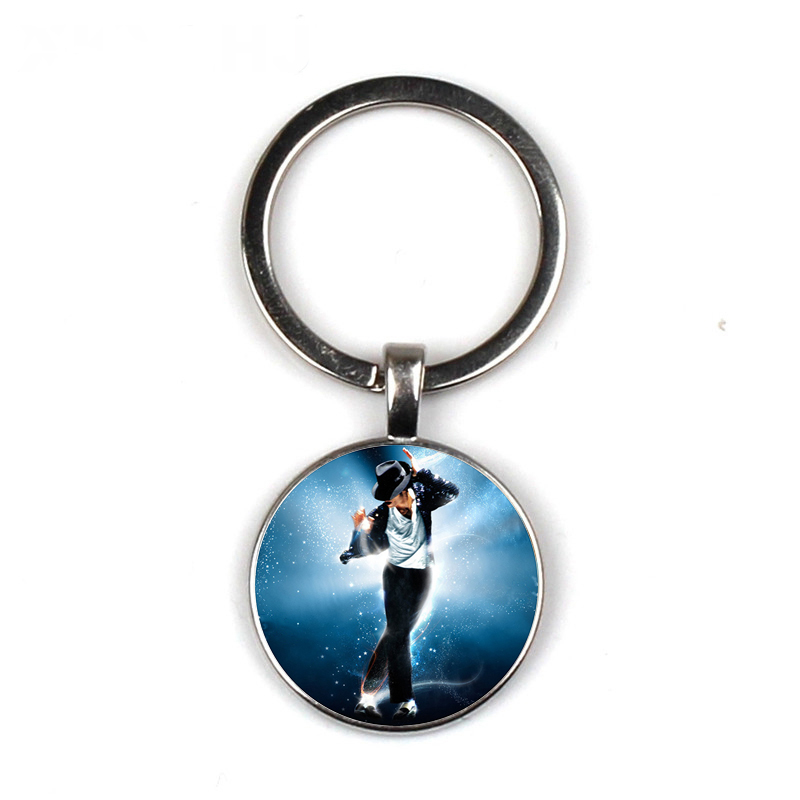 HOT! Glass Cabochon Michael Jackson Keychain Exquisite Fashion Bag Car Key Chain Ring Holder Charms