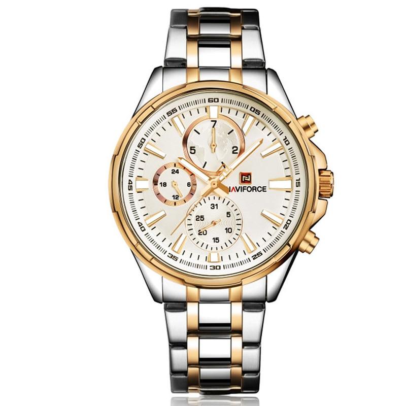 Chronograph clock men quartz watch NAVIFORCE luxury sport watches gold steel watch waterproof calender wristwatches reloj hombre