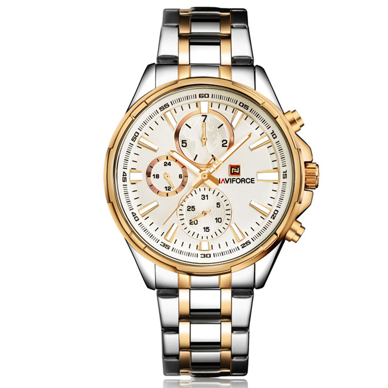 Chronographe horloge hommes montre à quartz NAVIFORCE sport de luxe montres or montre en acier étanche calendrier montres reloj hombre