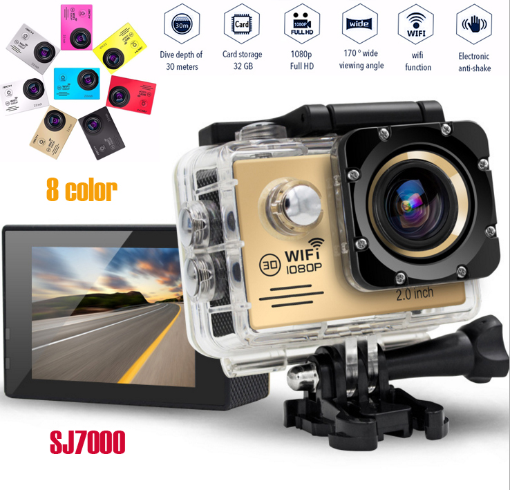 Action Camera Full HD 1080P 30FPS Wifi 170 Degree Waterproof 30M Min DV Sport Camera free shipping 4k 30fps action camera wifi 1080p uhd 2 0 lcd screen 30m waterproof diving 170 degree sport action camera dv camera