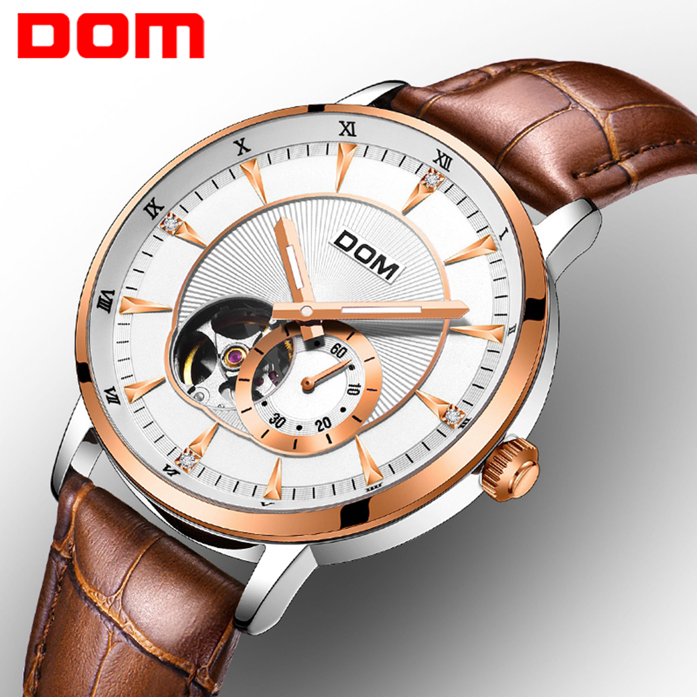 DOM Watches Men Mechanical Watch Big Dial Leather Band Business Dress Montre Homme Luminous Hands Automatic Relojes Hombre 2018 gaiety men s casual stripe dial leather band dress watch g538