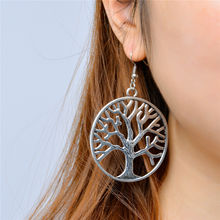 2018 New Arrivals Fashion Zinc Alloy Circle Brincos Dangling Long Statement Hollow Tree Of Life Drop Earrings For Wome Jewelry(China)