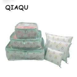 QIAQU 6 pcs / set Travel Organizer Storage Bag Portable Luggage Organizer Clothes Suitcase Bag Travel accessories