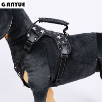 Ganyue Medium Large Dog 3M Reflective Nylon Harness With Handle Pet Service Big Dog Vest Padded Adjustable Harness all Season