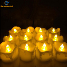 Redcolourful 24 pcs Romantic Led Candle Yellow Flameless Velas Flickering Candle Tea Lights for Birthday Wedding Decoration