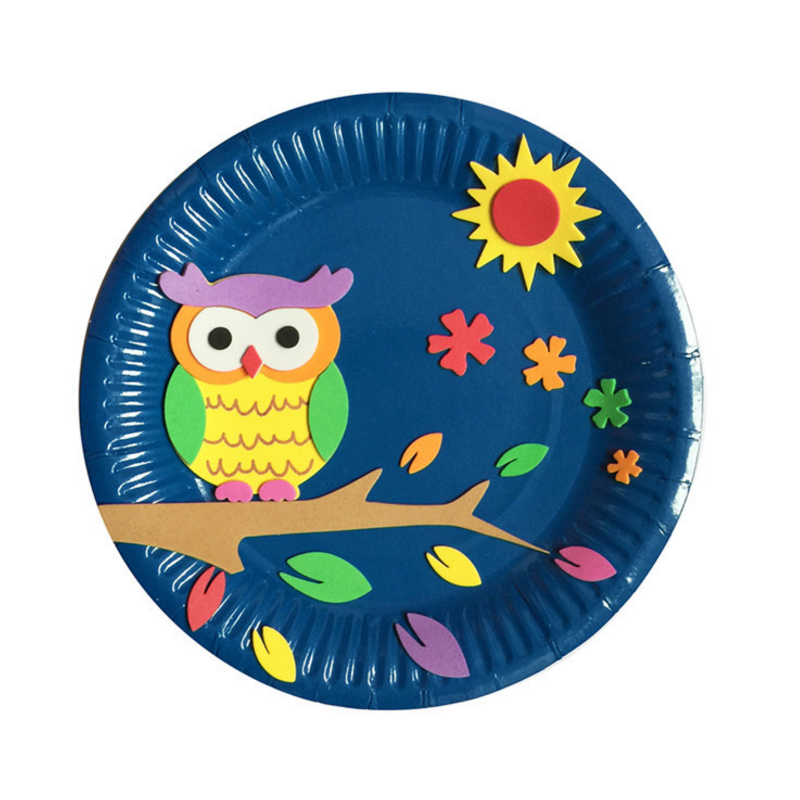 3pcs/set new fun DIY Paper Plate Art Craft Puzzle Stickers Cartoon Animals Creative Gift Boxes Kindergarten Kids Educational Toy