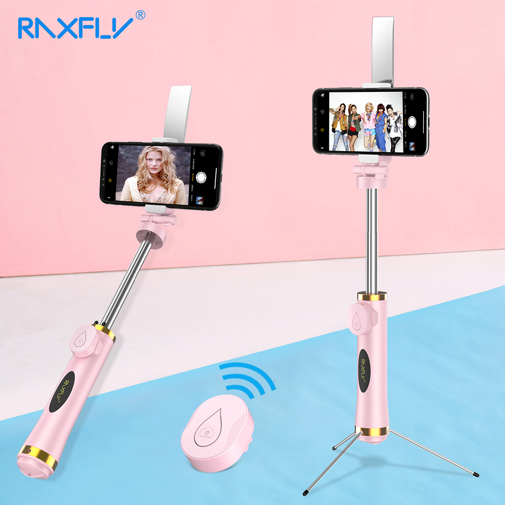 RAXFLY Mini Bluetooth Selfie Stick Foldable Tripod Mirror Remote Selfie Stick For IOS iPhone X 8 7 Plus Xiaomi Samsung Android caseier wireless bluetooth selfie stick for iphone x xs 8 7 6 mini handheld selfie stick universal for samsung xiaomi huawei