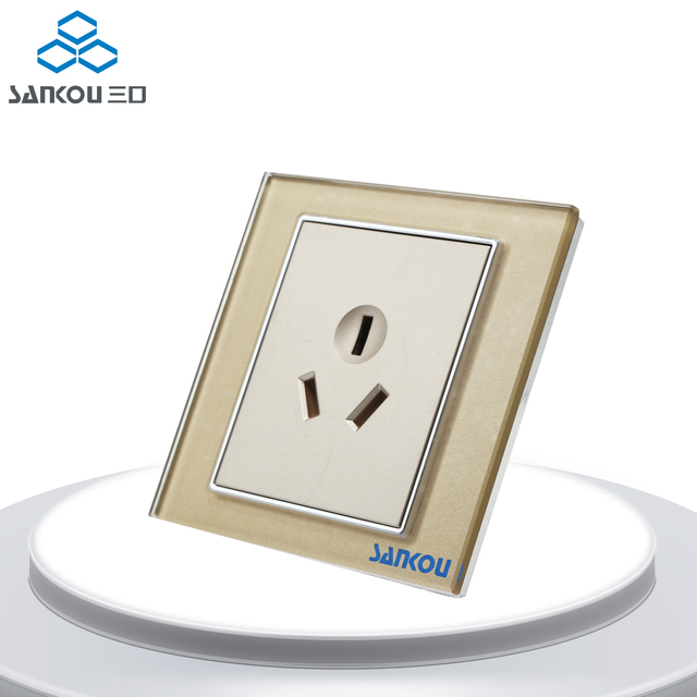 Cnskou Factory Outlet 16A 3Pin Wall Panel Sockets Golden Crystal ...