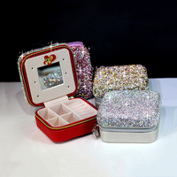 NEW Fashion Diamond Crystal Mini Jewelry Box Petite Travel Portable Cosmetic Case Earring Ring Storage Box Makeup Organizers