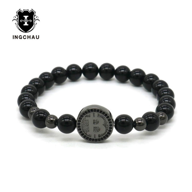 eda12066c8cf 2018 Gun Black Luxury Bitcoin Bracelet Men Black Onyx Beaded Bracelets For Men  Best Friend Gift