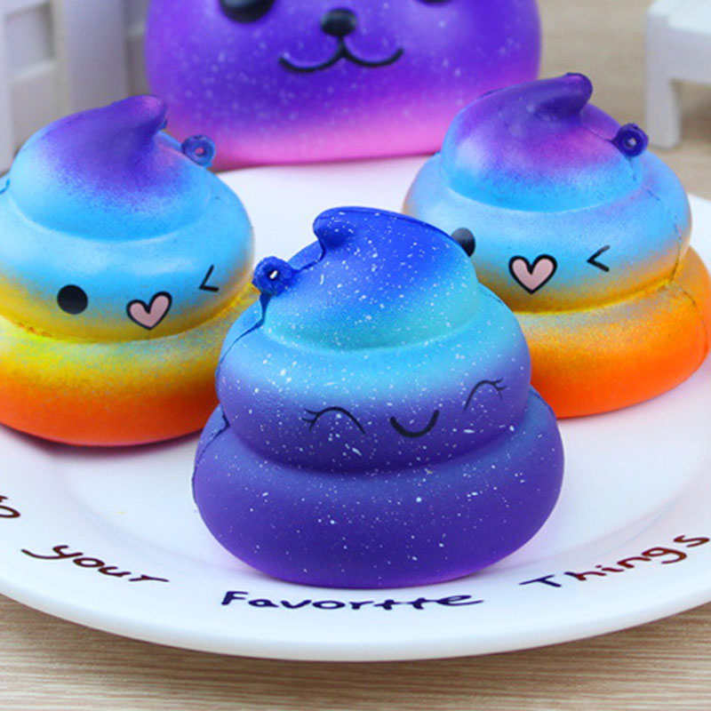 Kawaii Rainbow Shining Crazy Poo Squishy Slow Rising Soft Cream Scented Bread Cake Phone Straps Kid Fun Toy Gift