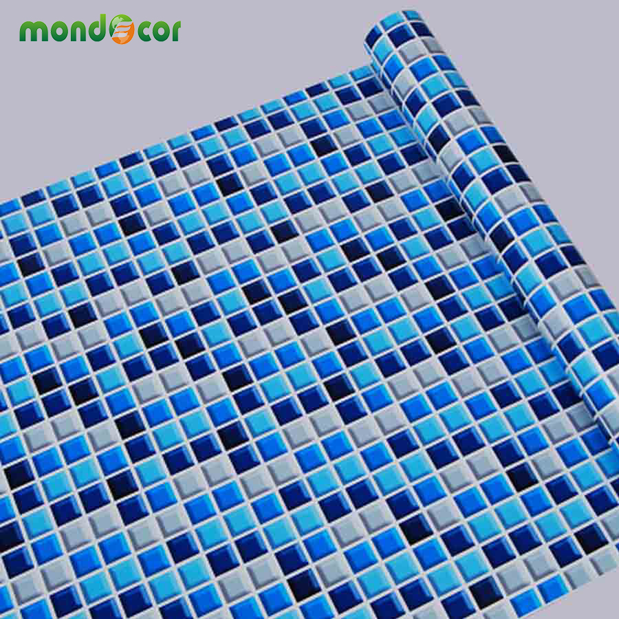 New Waterproof Bathroom Mosaic Tiles Vinyl PVC Self adhesive Wallpaper for <font><b>Kitchen</b></font> Countertop Wall Stickers Oil proof Backsplash