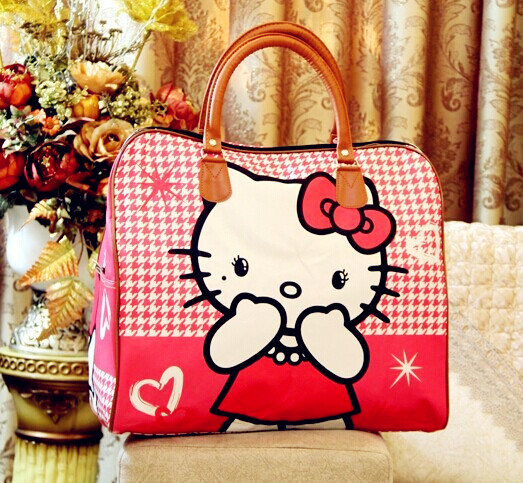 2017 hot sale famous brands women s cartoon bag women luggage Emoji travel bags large duffle