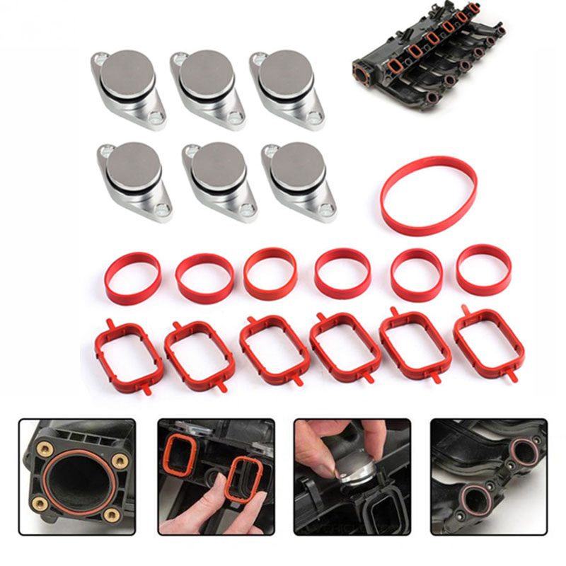 6pcs 22mm Diesel Swirl Flap Blanks Replacement Bungs with Intake Manifold Gasket for BMW 320d 330d 520d 525d 530d image