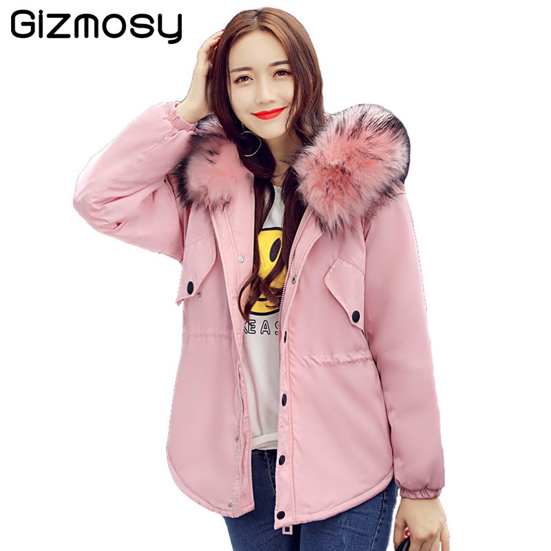 New 2017 Winter Jacket Women Large Imitation Raccoon Fur Collar Thick Loose Winter Coat Womens Outwear Parkas Army Green BN1555 2017 winter new clothes to overcome the coat of women in the long reed rabbit hair fur fur coat fox raccoon fur collar