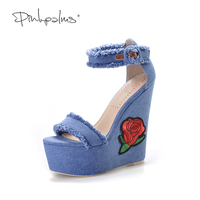 Pink Palms Women Summer New Navy Denim Platform Shoes Folk Flower Embroidered Fabric High Heels Sandals