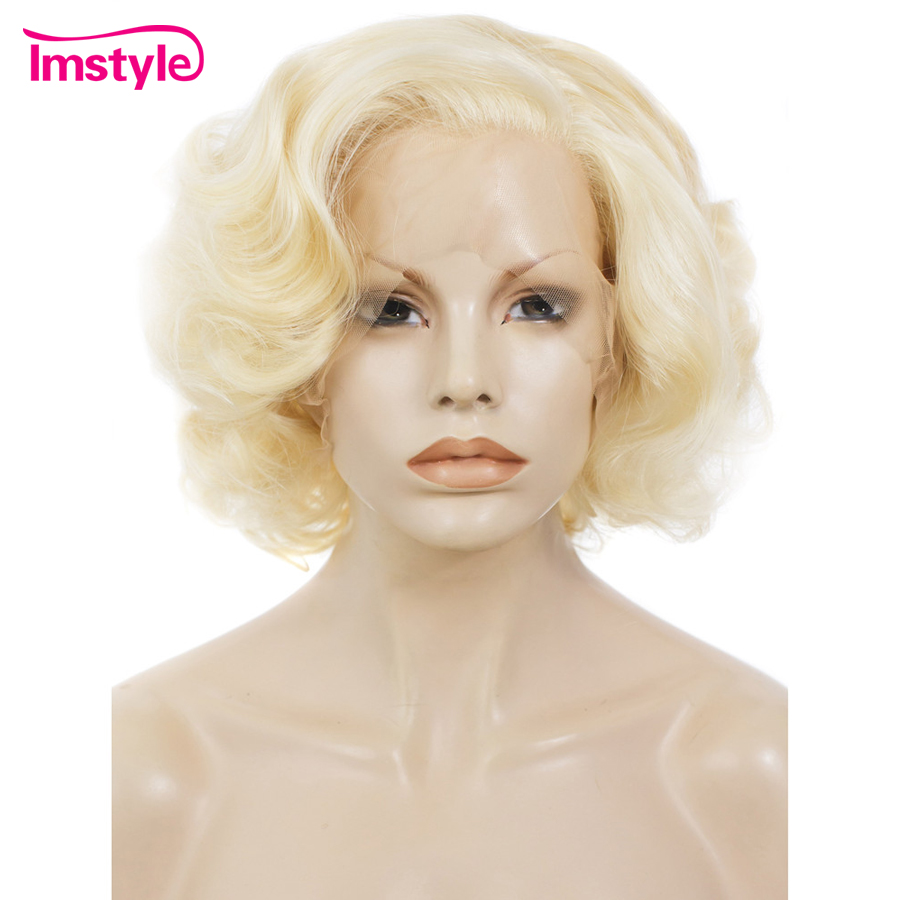Imstyle #613 Blonde Wig Short Bob Wave Synthetic Lace Front Wig For Women Heat Resistant Fiber 10 inch Natural Wave Cosplay Wig