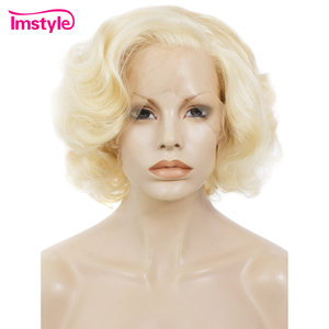 Imstyle Short Blonde Bob Wig Synthetic Lace Front Wig 10 inch 613 Natural Hair Cosplay Wig For Women Heat Resistant Fiber