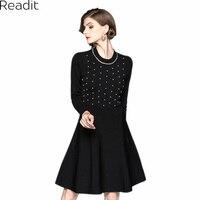 Readit Kit Elbise 2017 Sonbahar Kış Sıcak Vestidos Beyaz Sahte İnci Boncuk Yaka Göğüs Siyah Örme Elbise Kadın D2548