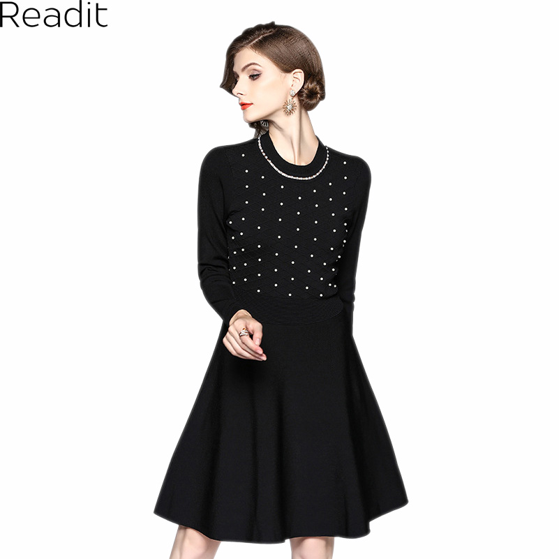 Readit Kitting Dress 2017 Autumn Winter Warm Vestidos White Faux Pearl Beading Collar Chest Black Knitted Dress Female D2548 spring autumn woman dress faux pearl rhinestone beading sleeve cuff knitted dress fashion vintage elastic black red party dress