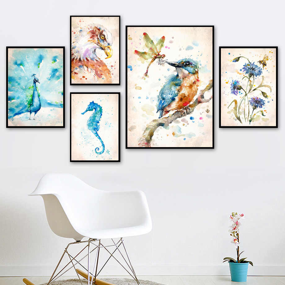 Watercolor Bird Dandelion Flower Owl Seahorse Nordic Posters And Prints Wall Art Canvas Painting Wall Pictures For Living Room
