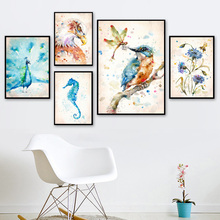 Watercolor Bird Dandelion Flower Owl Seahorse Nordic Posters And Prints Wall Art Canvas Painting Pictures For Living Room