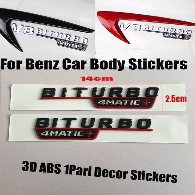 1 Paar Auto Abzeichen Emblem Körper Aufkleber Für Mercedes Benz Biturbo 4 Maitc W211 W203 W204 W124 W201 Amg W202 W212 Abs Label