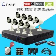 TEATE Completa AHD DVR 960 H com 8 pcs 900TVL câmeras IR ao ar livre Sistema de Vigilância de vídeo H.264 em tempo real de gravação gravador 1 TB HDD