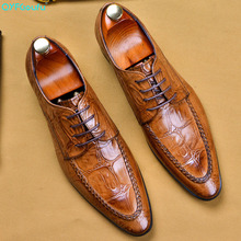 QYFCIOUFU 2019 Hot Luxury Mens Dress Shoes Genuine Leather Handmade Man Crocodile Pattern Wedding Office Business Suit