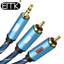 EMK 3.5mm AUX audio Cable to 2 RCA Audio Splitter Male 2RCA Speaker 1m 2m 3m 5m Braided jacket MP3 Amplifier Phone Notebooks