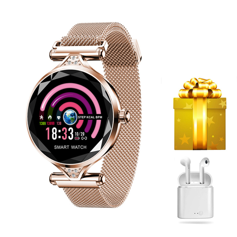 Smartwatch women earphone set smart watch mujer for huawei samsung iphone with heart rate monitor latest