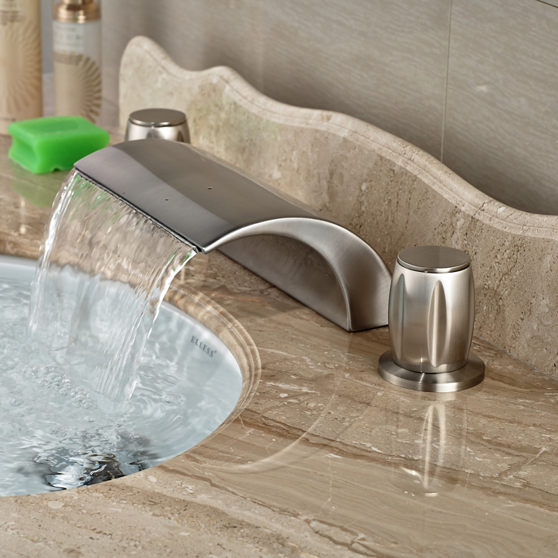 High Quality Waterfall Spout Design Deck Mounted Brushed Nickel Basin Vessel Sink Mixer Faucet
