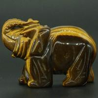 3 Inch Natural Yellow Tiger Eye Crystal Elephant Carved Figurine Stone Chakra Healing Reiki Stone Feng