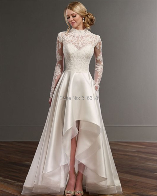 High Neck Long Sleeve High Low Wedding Dresses Romantic