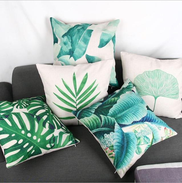 Hojas tropicales verde país decoración cojín cubierta de algodón